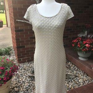 Sharagano gray/yellow knee length dress